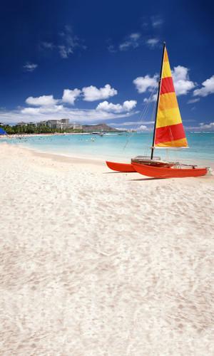 Sand and Katamaran Backdrop