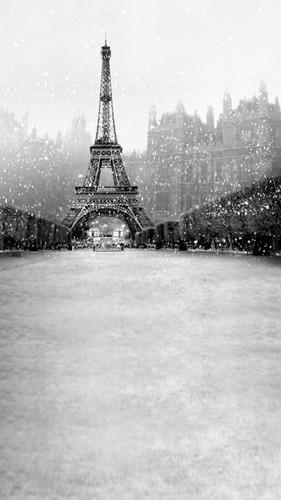 Winter Eiffel Tower Backdrop