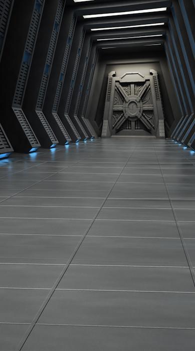 Death Star Hallway Backdrop Photo Pie