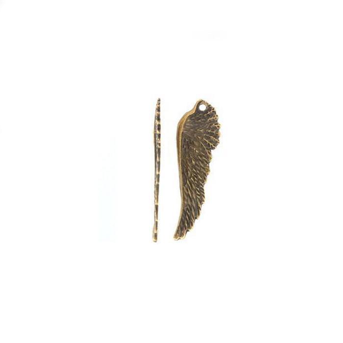 Angel Wing Charm - Antique Brass - 50 x 16mm