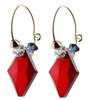 Red Crystal Hoop Earrings made with Rare Swarovski 14K GF by Karen Curtis NYC