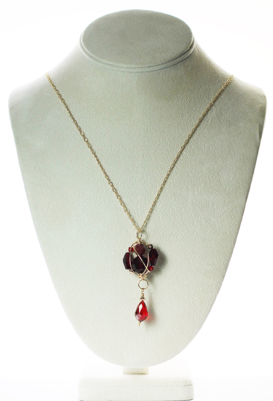 Red crystal pendant necklace hand made jewelry by karen curtis clustered red crystal pendant necklace red jewelry aloadofball Image collections