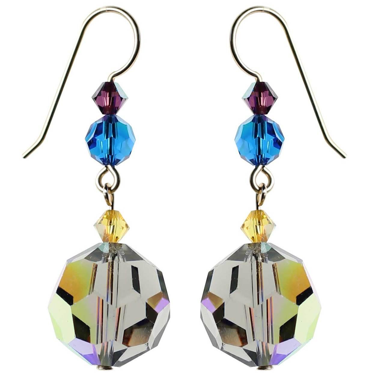 Grey Swarovski crystal dangle earrings • Finest 14K gold filled for ...