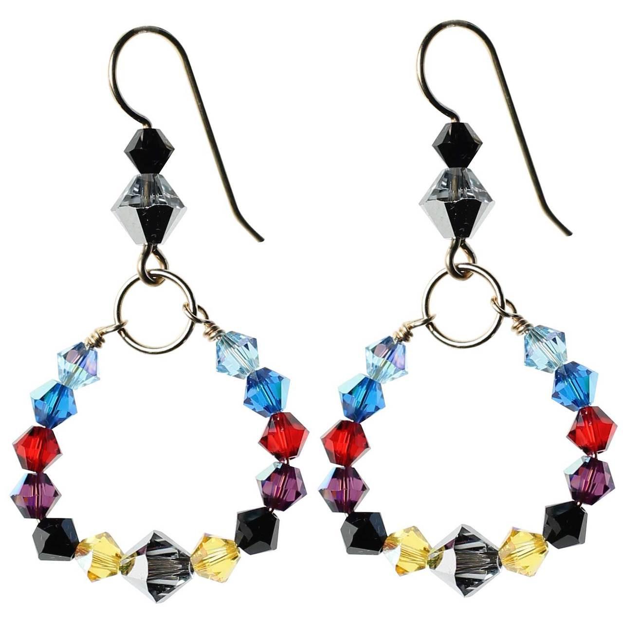 Multi colored crystal loop earrings • 14K gold filled metal ...