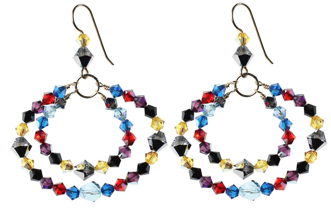 snap earrings small hoops confetti multicolor paul huggy morelli p multicolored hoop diamond