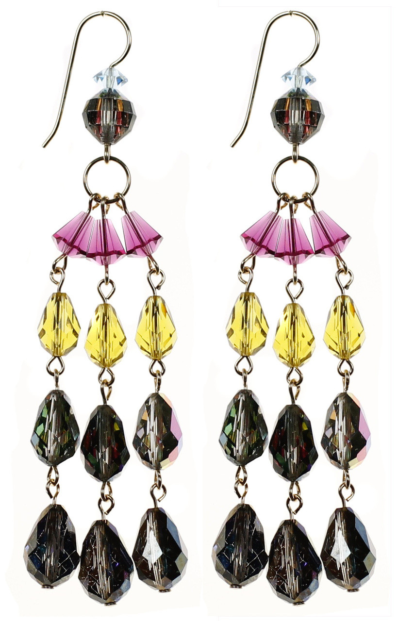 Long colorful chandelier earrings swarovski crystal jewelry 3 strand colorful crystal earrings by nyc jewelry designer karen curtis arubaitofo Images