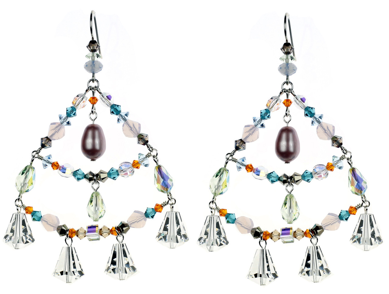 Crystal chandelier earrings designer jewelry karen curtis nyc colorful chandelier earrings with crystals from swarovski mozeypictures Choice Image