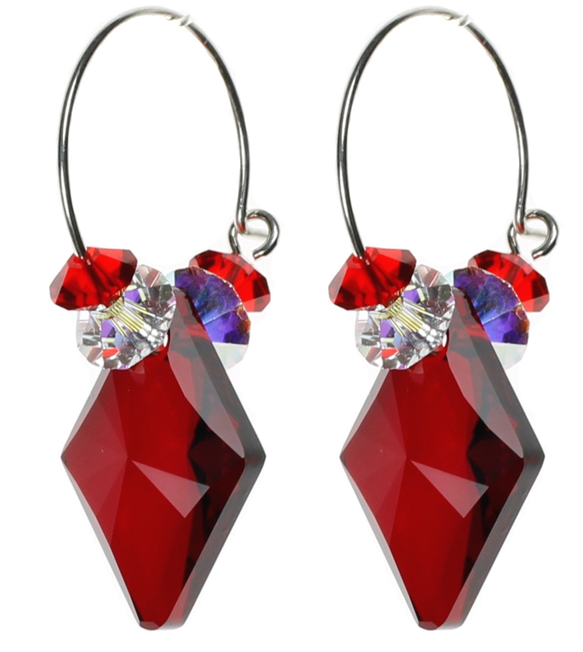 drop earrings chandelier zdx index trendy crystal red