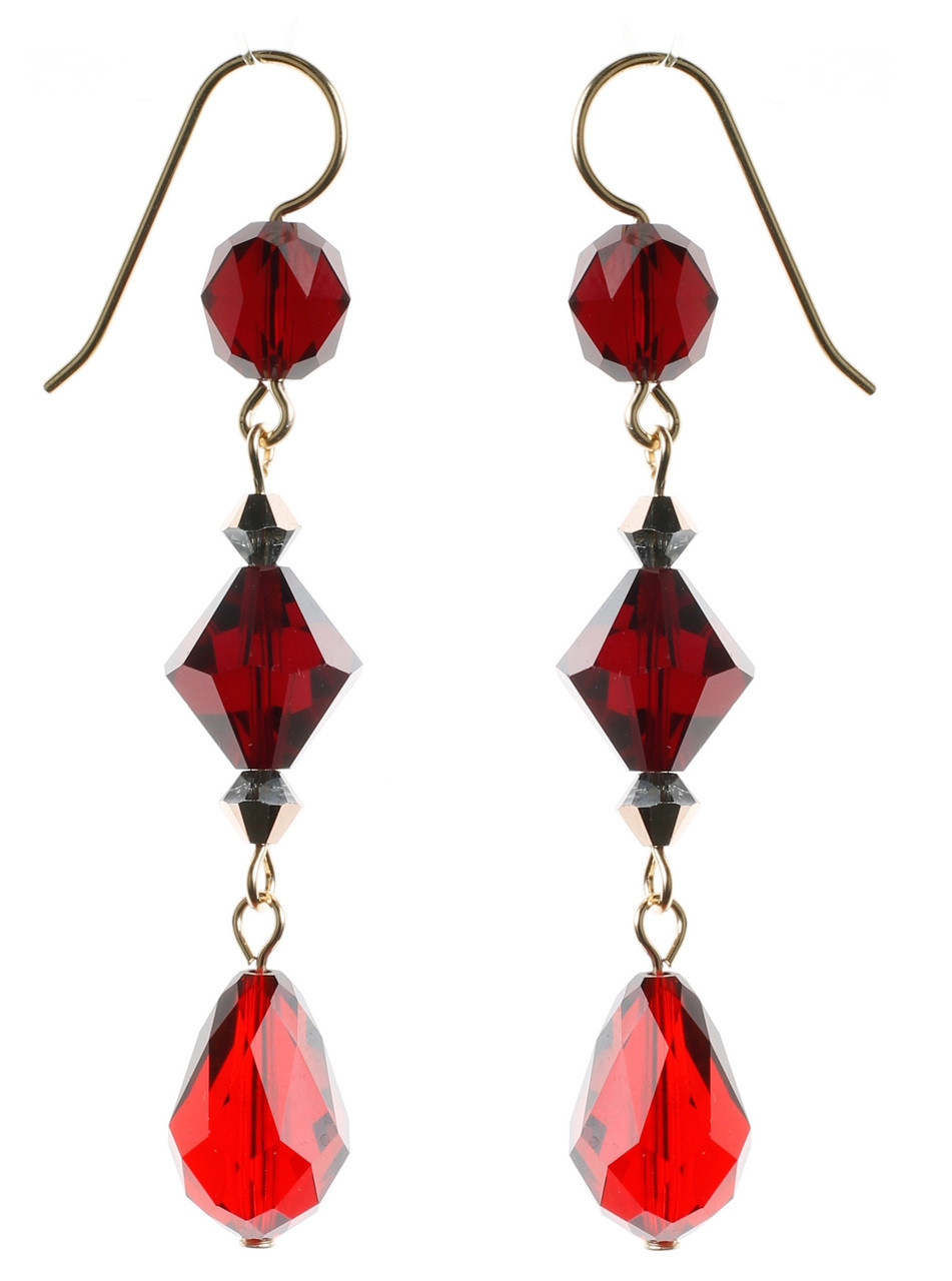 beaded red teardrop earrings crystal