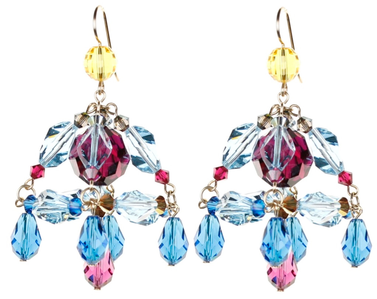 Colorful mini chandelier earrings crystals from swarovski karen colorful chandelier earrings tiffany arubaitofo Images
