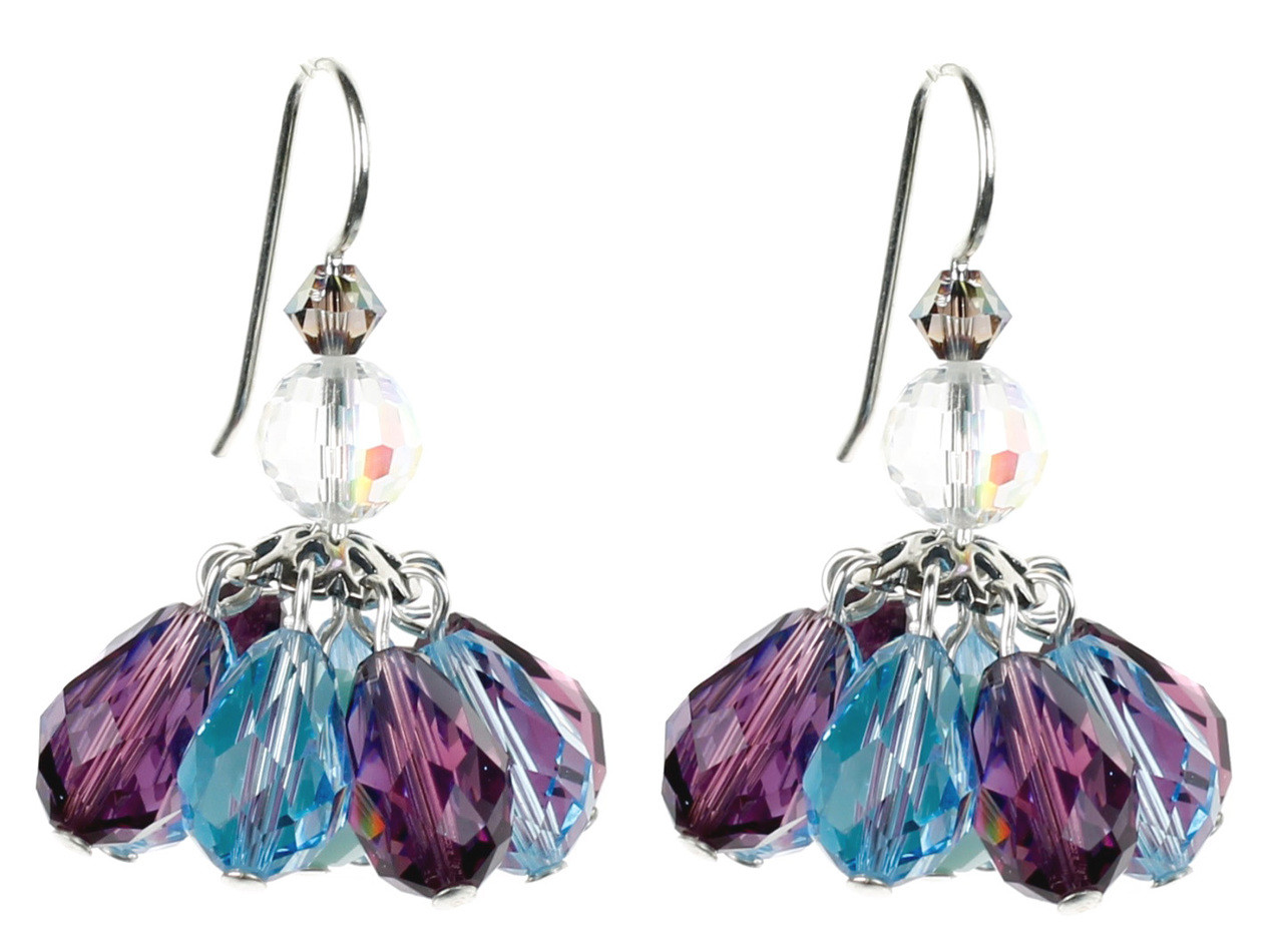 Crystal Earrings Made With Purple And Blue Swarovski In A Short Chandelier Like Earring