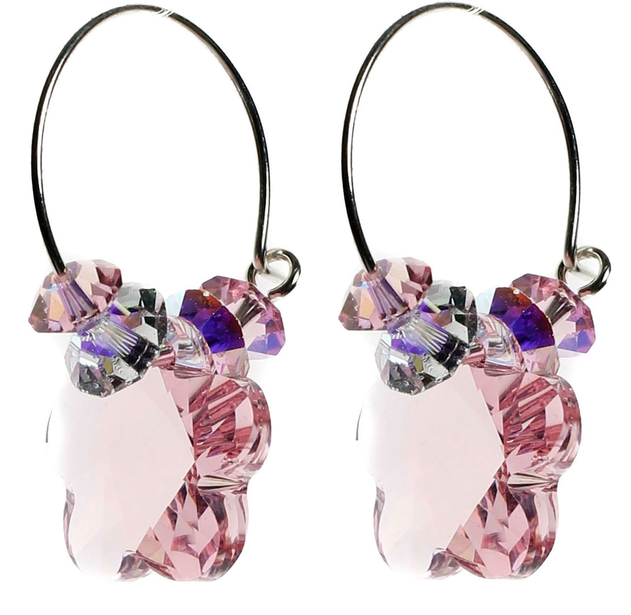 Pink Swarovski Flower Hoop Earrings