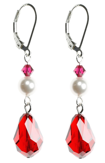 swarovski peach earrings teardrop red rose en crystal
