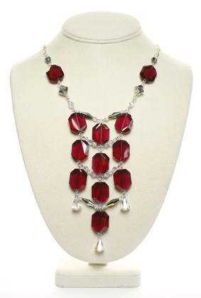 Flapper Style Necklace Red Swarovski Crystal Necklace Karen Curtis Jewelry