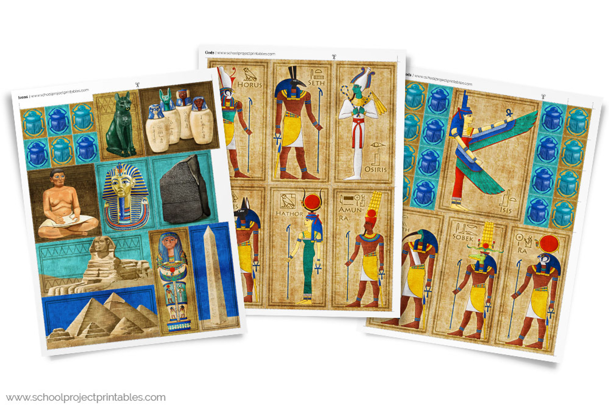 Three pages of colorful ancient egyptian gods and icons clip art use like stickers to print