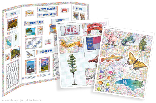 Kit has everything you need to make your New North Carolina state report poster. Including a map, state flower, moto, nickname, tree and more!
