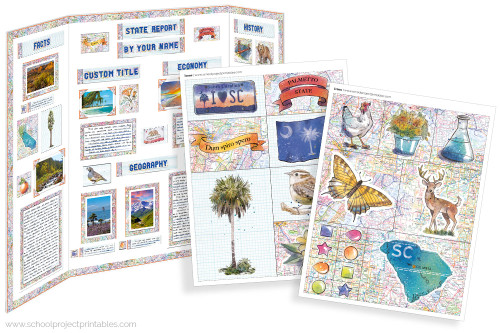 Kit has everything you need to make your New South Carolina state report poster. Including a map, state flower, moto, nickname, tree and more!