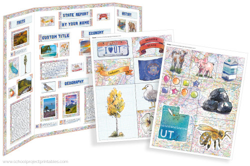 Kit has everything you need to make your New Utah state report poster. Including a map, state flower, moto, nickname, tree and more!
