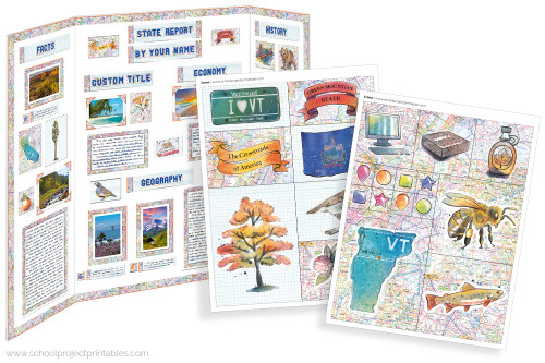 Kit has everything you need to make your Vermont state report poster. Including a map, state flower, moto, nickname, tree and more!