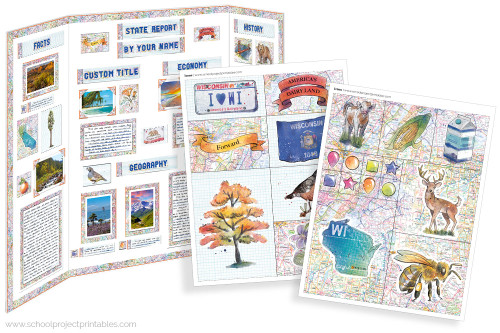 Kit has everything you need to make your Wisconsin state report poster. Including a map, state flower, moto, nickname, tree and more!