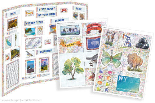 Kit has everything you need to make your Wyoming state report poster. Including a map, state flower, moto, nickname, tree and more!