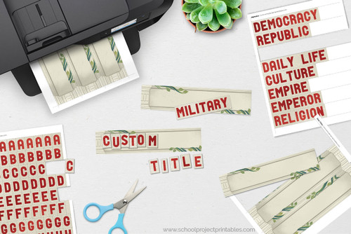 Make custom titles for your Ancient Rome poster with our printable kit.