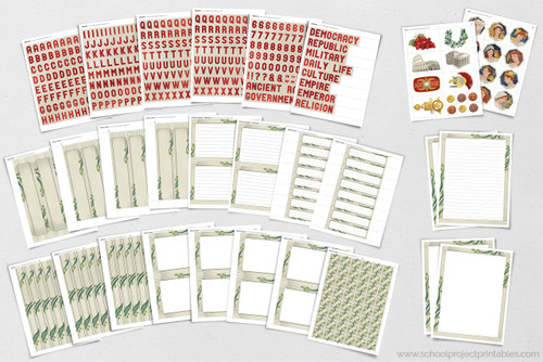 Look at all of these printable materials for Ancient Rome projects! All of these pages are included in this printable kit. Borders, titles, writing template and more!