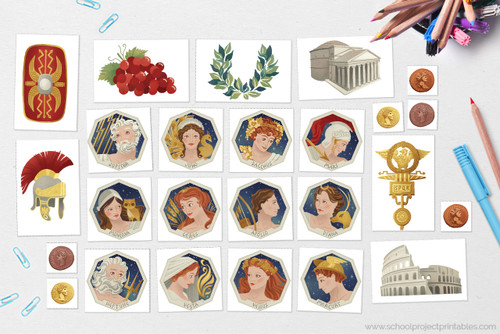 Use the printable clip art of Ancient Roman Gods and Goddesses to decorate your report. Includes Jupiter, Juno, Bacchus, Mars, Minerva, Ceres, Apollo, Diana, Mercury, Neptune, Venus, and Vesta.