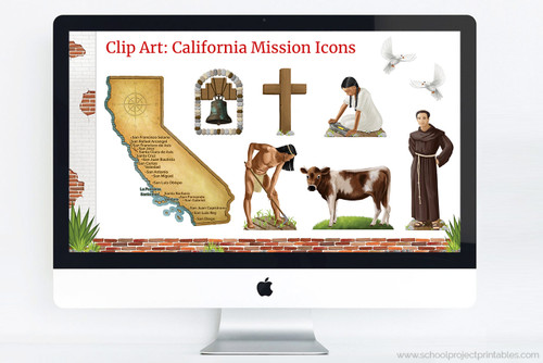 Presentation template includes California Mission themed clip art; Franciscan Monk, Native American Man and Woman farming maze, Map of the Spanish Missions of California, wooden cross, mission bell, cattle, and doves.