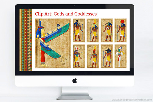 Ancient Egypt powerpoint template including clip art of Egyptian Gods and Godesses!