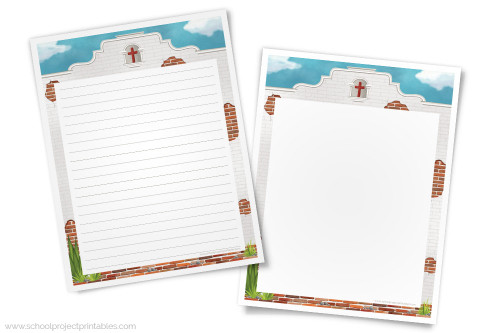 Downloadable files included lined and blank unlined California Missions writing templates. The artwork features the unique adobe brick architecture iconic to the Missions of California.