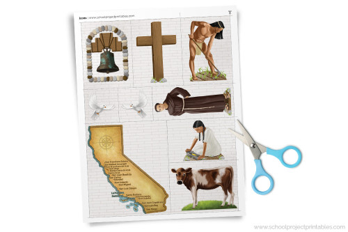 Page of printable California Missions clip art to decorate project, reports and dioramas. Includes Franciscan Monk, Native Americans, and California Missions Map.