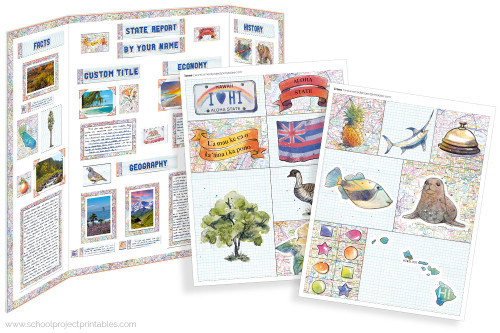 Kit has everything you need to make your Hawaii state report poster. Including a map, state flower, moto, nickname, tree and more!