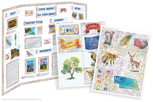 Kit has everything you need to make your Nebraska state report poster. Including a map, state flower, moto, nickname, tree and more!