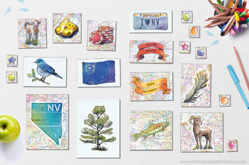 Also comes with state symbols of Nevada clip art, including state flower, state tree, state flag, map, economic exports, license plate, motto, nickname, and more!
