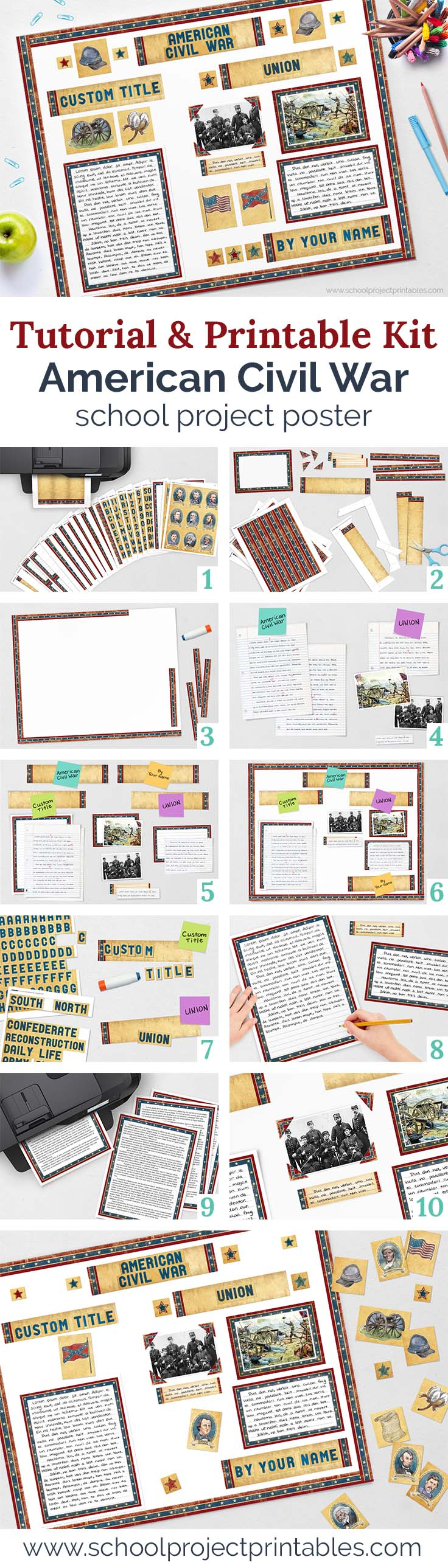 Step by step tutorial and printable kit for Civil War school report