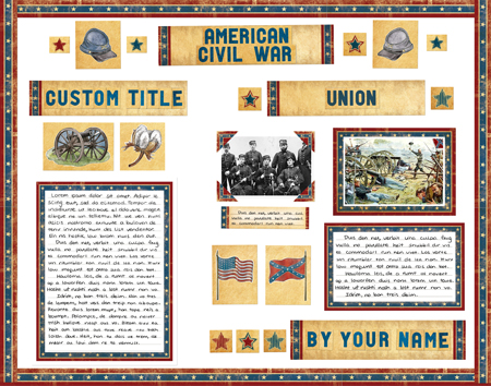 Finished American Civil War project poster board made from SchoolProjectPrintables.com kit