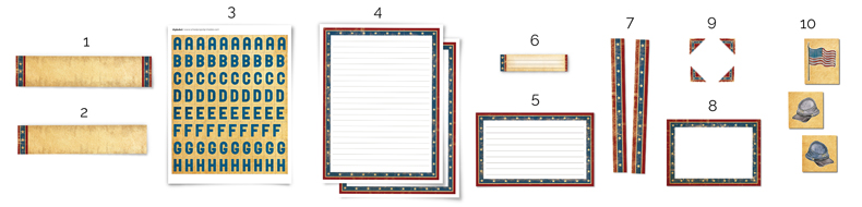 all of they types of pieces included in the Civil War printable kit