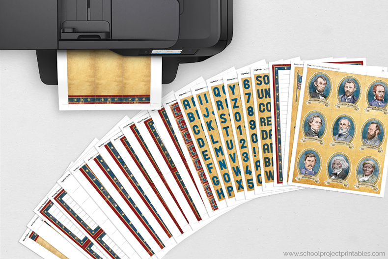 American Civil War kit page coming out of a printer, all pages shown on table