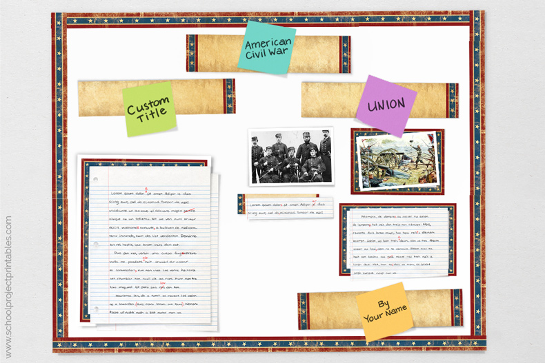 tutorial showing how to make American Civil War poster for school report