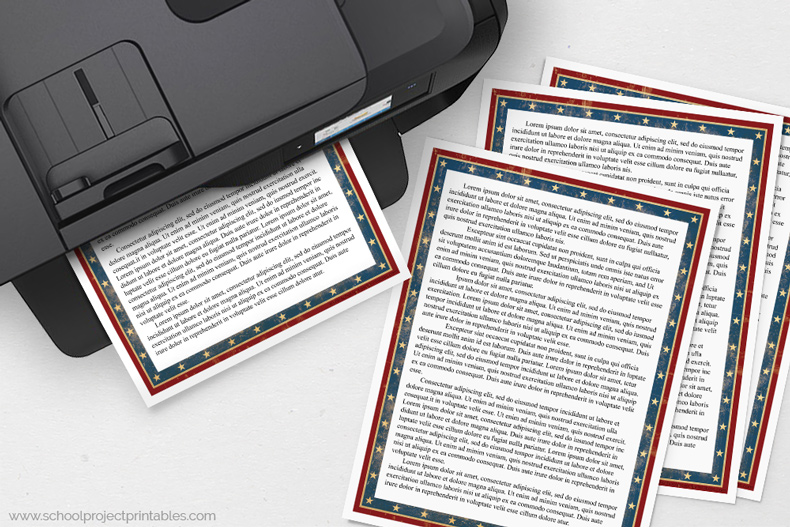 American Civil War report template coming out of printer
