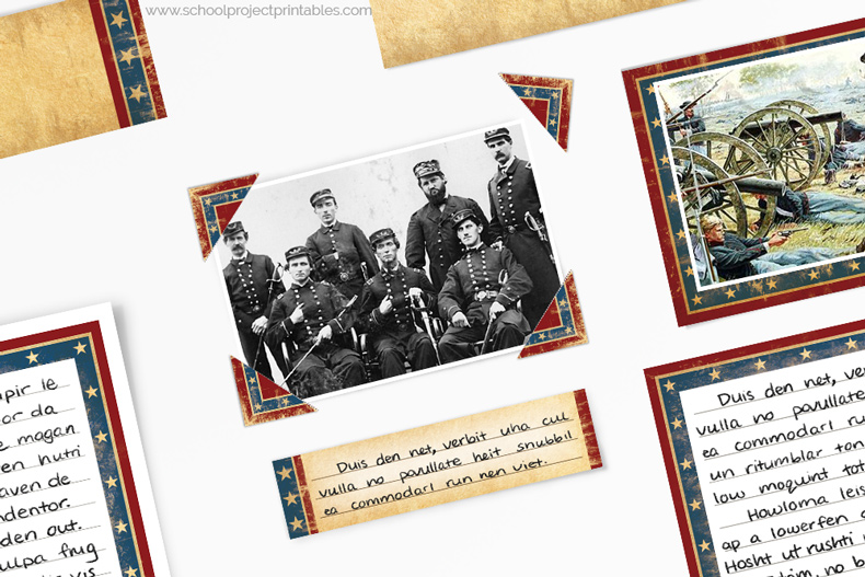 How to use photo corners on a American Civil War project
