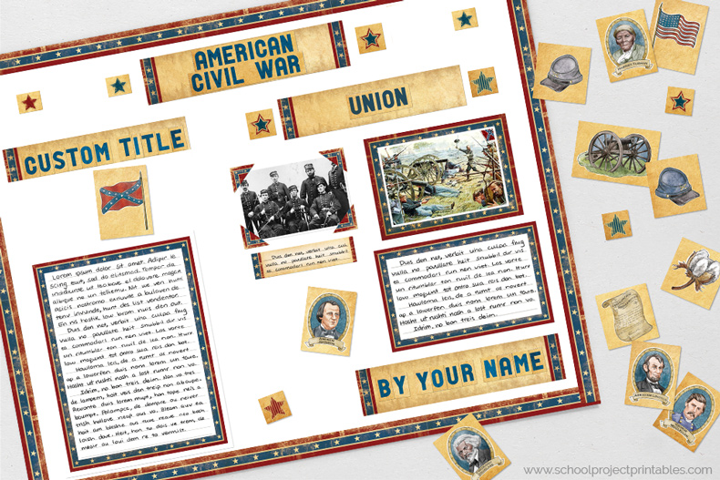 Printable clip art to decorating a American Civil War poster, includes objects, icons and people