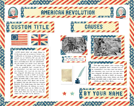 Finished American Revolution Report project poster board made from SchoolProjectPrintables.com kit