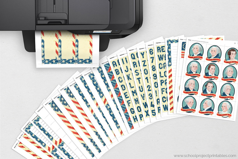 American Revolution kit page coming out of a printer, all pages shown on table