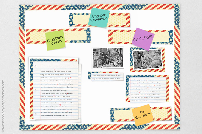tutorial showing how to make American Revolution poster for project
