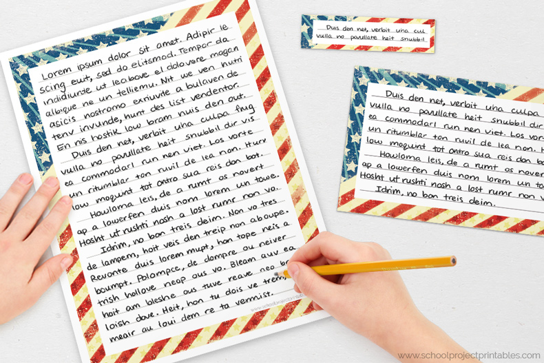 Roman column border writing templates for handwriting American Revolution projects