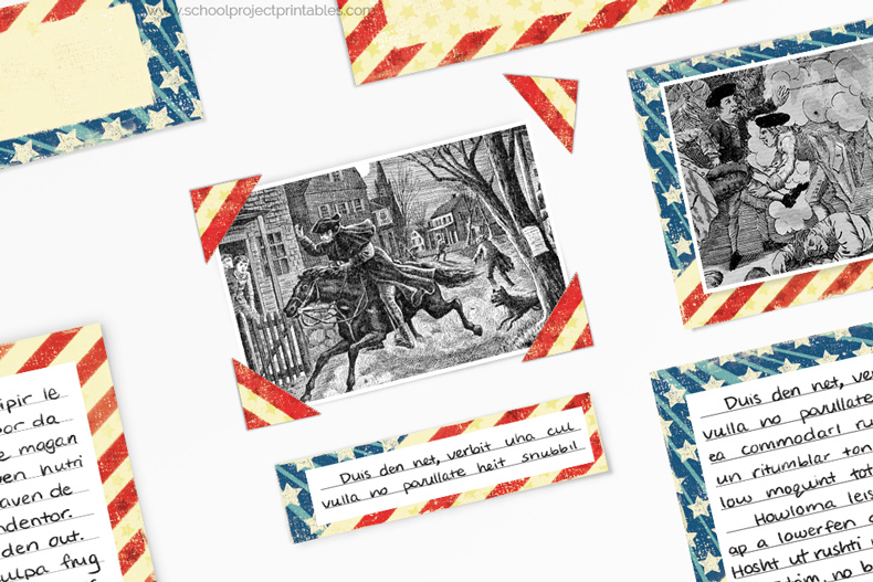 How to use photo corners on a American Revolution project