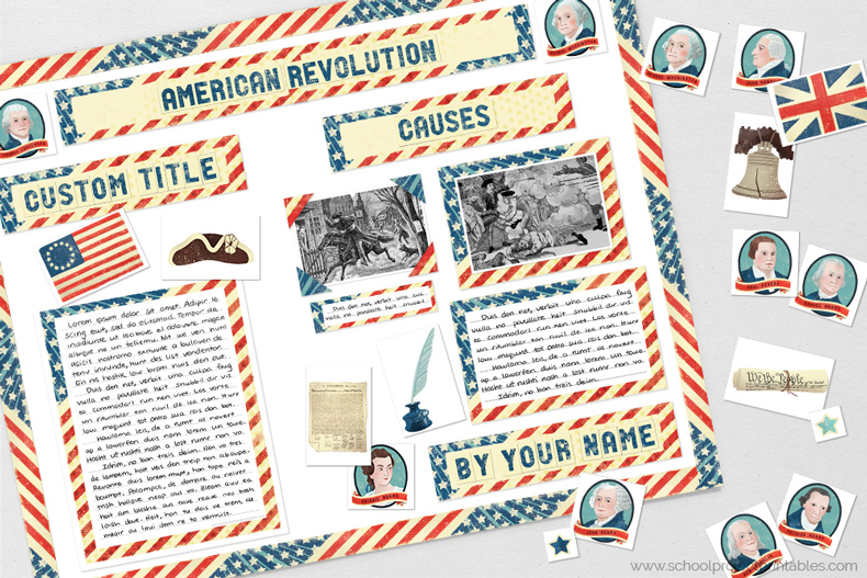 Printable clip art to decorating a American Revolution poster, includes icons, gods and goddesses