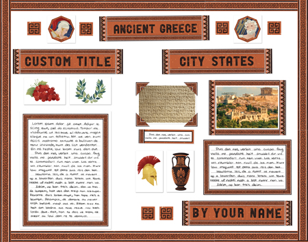 Finished Ancient Greece Report project poster board made from SchoolProjectPrintables.com kit